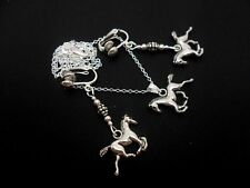 A TIBETAN SILVER HORSE/PONY THEMED NECKLACE & CLIP ON EARRING SET. NEW.