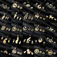 Women Gold Stainless Steel Jewelry Set Pendant Charm Necklace Earrings Wedding