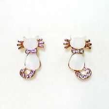 Fashion Jewelry - 18K Rose Gold Plated Cat Stud Earrings (FE052)