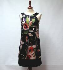 TED BAKER London Bold Multi Col Floral Black Luxury 100% SILK Dress Lined UK 10