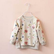 Toddler Kids Baby Girls Floral Printing Long Sleeve Warm Tops T-Shirt Clothes