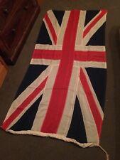Large Antique WW2 Era Stitched Cotton Union Jack British Flag Vintage Military