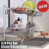 Over Sink Stainless Steel Dish Cutlery Drying Rack Drainer Shelf Kitchen Holder