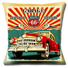 "Route 66 16""x16"" 40cm Cushion Cover Garage Service Car Repair Old Mottled Finish"