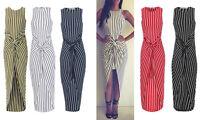 Cheap Womens Striped Dip Hem Front Twist Knot Sleeveless Dress With Short Skirt
