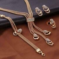 1Pcs 18K Gold Plated Crystal Necklace Bracelet Ring Earring Tassel Jewelry Set