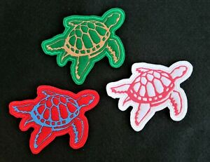 Turtle Embroidered Patch Badge Iron on or sew in various colours