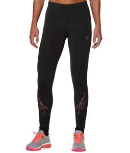 Asics Women's Running Tights Stripe Pattern Tights - Black/Orange - New