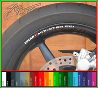8 x DUCATI MONSTER 821 Wheel Rim Stickers Decals - 20 colors available -
