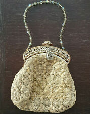 LARISA BARRERA  SMALL GOLD LACE EVENING BAG VINTAGE WITH DECORATIVE CLASP