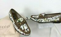 Gucci 6.5 US 36.5 EU Floral Canvas Leather Loafers Shoes Horsebit Runway Bag