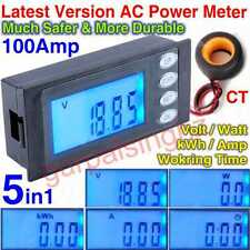 5in1 AC 100A Digital LCD Watt Volt Amp Power Energy Current Electric Meter New
