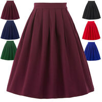 Lady's High Waist A line Skirt Skater Pleated SHORT Swing Skirts 6 Colors S-XL