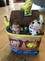"Noahs Ark Small Ceramic Cookie Jar 8.5"" Tall Express Productions SS Ark"
