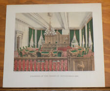 1868 Antique COLOR Print///CHAMBER OF THE BOARD OF SUPERVISORS, NEW YORK CITY