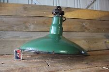 Vintage Large Enamel Light Shade Green Industrial Sign Hook Hanging Lamp