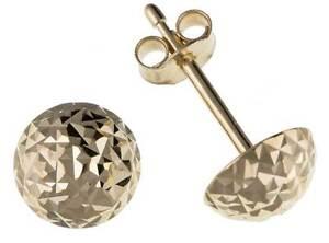 9CT GOLD YELLOW WHITE ROSE D/C 6MM DIAMOND CUT DOME BALL STUD EARRINGS GIFT BOX