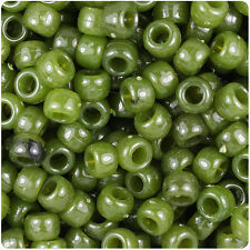 500 Jade Green Marbled 9mm Barrel Plastic Pony Beads Made in the USA