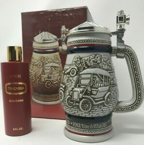 Vintage AVON Beer Stein Car Classics Lidded and Trazarra Cologne  NIB