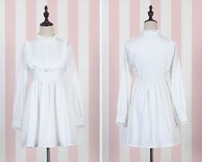 Women's  Lolita Princess Lace Trim Dress White/Black Long Sleeve Slim Dress