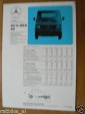 MERCEDES-BENZ  407D / 409D / 410 DUBBELE KABINE BROCHURE FOLDER PROSPEKT 1982 DC