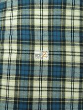 "TARTAN PLAID UNIFORM APPAREL FLANNEL FABRIC Blue/White/Olive 60"" BY THE YARD 10"