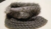 Vintage Designer Fur Scarf Nordic Gray Wool Cable knit, Neck Warmer, snood