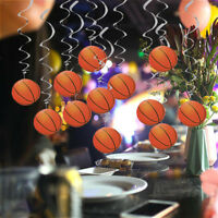 12 Pieces Lovely Basketball Shape Hanging Swirls Sport Party Hanging Decor