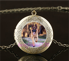 Vintage German Dog Photo Cabochon Glass Brass Locket Pendant Necklace