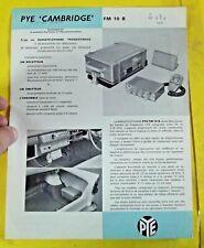 Ancien Catalogue Fascicules Document Cambridge Vintage  PYE FM10 B     70.