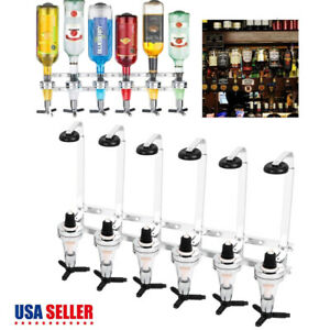 6 Bottle Liquor Drink Dispenser Alcohol Bar Beverage Whiskey Shot Stand Home