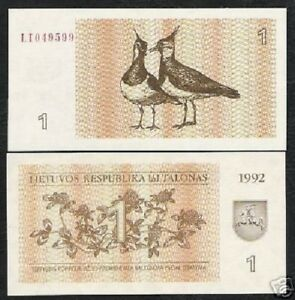 LITHUANIA 1 TALONA P-39 1992 x 10 Pc Lot Bundle EURASIAN LAPWINGS HORSE UNC NOTE