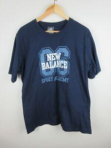 New Balance Mens T Shirt Size XL Crew Neck Short Sleeve Navy Blue Graphics Adult