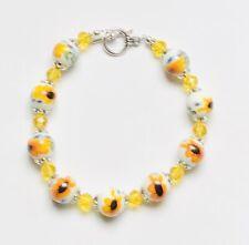 Stunning Sunshine Yellow Tribute Ceramic Crystal Bracelet & Sunflowers.-)