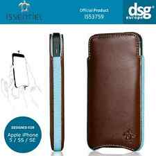 Issentiel Paris - Genuine Leather Pouch Case for iPhone 5 5s 5c SE Brown / Blue