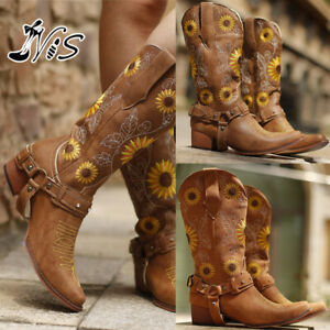 Women Cowgirl Retro Knee High Combat Boot Embroidered Low Heel Shoes Riding Flat
