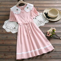 Mori Girl Sweet College Style Doll Collar Embroidery Short Sleeve Woman's Dress