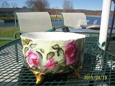 Limoges D&C Large Footed Ferner/Jardiniere/Vase Gorgeous Red/White/Pink Roses