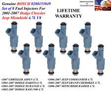 Genuine Bosch  Set of 8 Fuel Injectors For 2006-2007 Mitsubishi Raider 4.7L V8