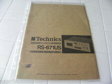 Technics RS-671US Owner's Manual  Operating Instruction   New