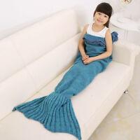 Kids Super Soft Hand Crocheted Mermaid Tail Blanket Child Sleeping Bag