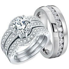 Engagement Sterling Silver Stainless Steel Set His Hers 4 Pcs Wedding Rings Halo