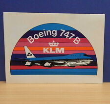 1x Sticker - aufkleber / Postcard KLM Airlines 747 B with org.back 80's (0798)