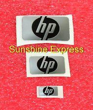 Lot of 3 pcs New OEM HP LOGO Metal Sticker - Black