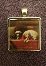 Vintage like Cavalier King Charles Spaniel Dog crystal pendant charm mydogsocks