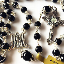 So Rare !!! Bali Sterling Silver Rosary Bead Cross black agate Necklace Gift Box