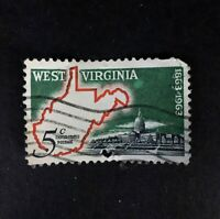 Scott 1232- West Virginia Statehood, Map & Capitol 5 cent Stamp - 1963 used