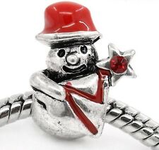 Snowman Rhinestone Red Enamel Christmas Holiday Charm for European Bead Bracelet
