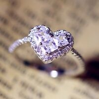 Love Heart 3ct Engagement White CZ Band 925 Silver Women Wedding Ring Size 4-9.5