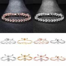 Women Crystal Zircon Rhinestone Bracelet Bangle Wedding Bridal Wristband Gifts